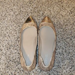 Kenneth Cole gold tip flats